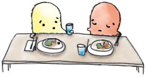 Två figurer sitter vid ett middagsbord